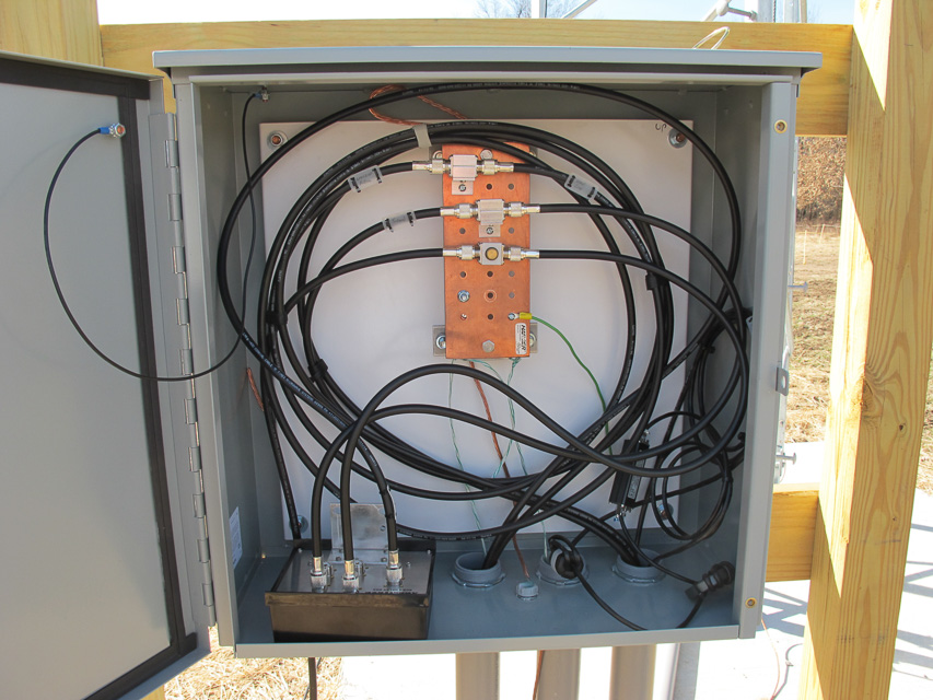 Image of the inside of the base of tower junction box